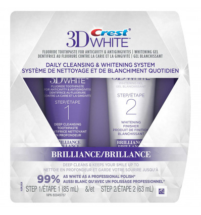 Crest 3D White Brilliance Toothpaste and Whitening Gel 2 Step System - 85 ml and 63 ml Tubes